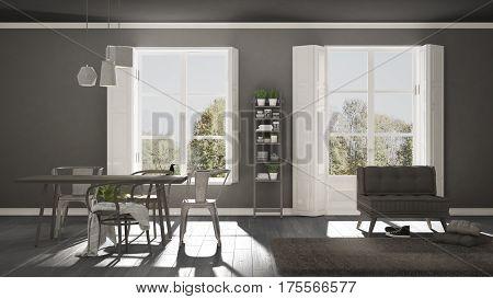 Scandinavian Living Room With Big Windows, Garden Panorama In Background, Minimalist White And Gray
