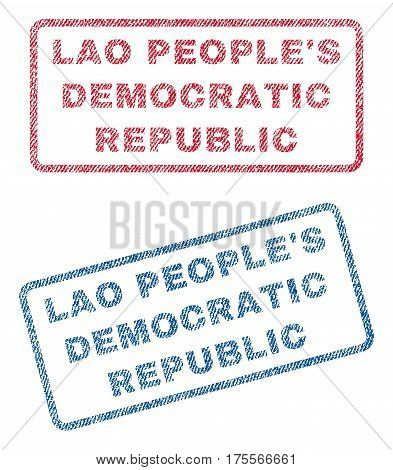 Lao People'S Democratic Republic text textile seal stamp watermarks. Blue, red fabric vectorized texture. Vector tag inside rounded rectangular banner. Rubber emblem with fiber textile structure.