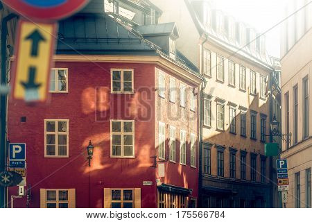Street of old town Gamla Stan in Stockholm Sweden Scandinavia Europe