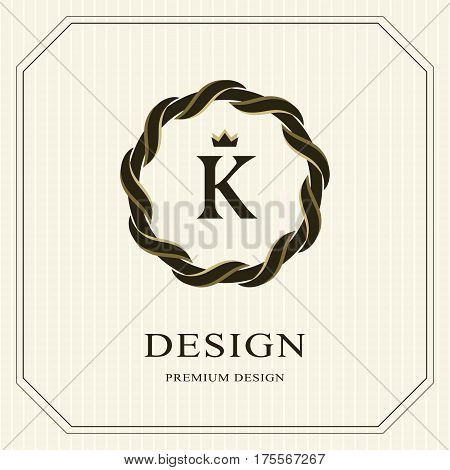 Abstract Monogram round template. Linear seamless pattern. Modern elegant luxury logo design. Letter emblem K crown. Fashion universal label for Royalty company business card. Vector illustration