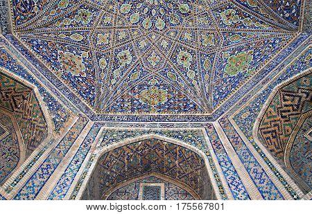 Interior of Ulugbek Madrasah in Samarkand, Uzbekistan
