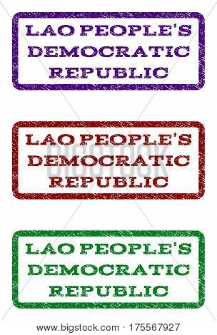 Lao People'S Democratic Republic watermark stamp. Text caption inside rounded rectangle frame with grunge design style. Vector variants are indigo blue, red, green ink colors.