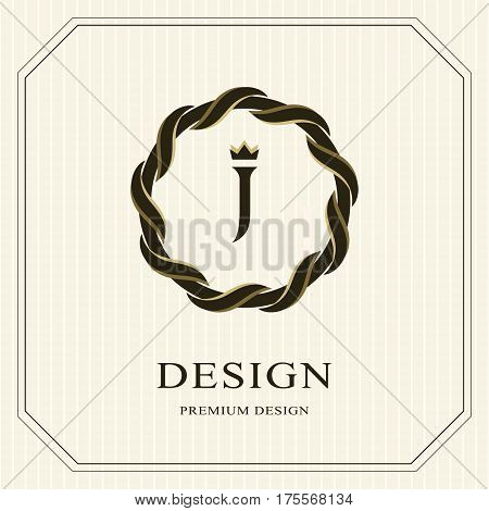 Abstract Monogram round template. Linear seamless pattern. Modern elegant luxury logo design. Letter emblem J crown. Fashion universal label for Royalty company business card. Vector illustration