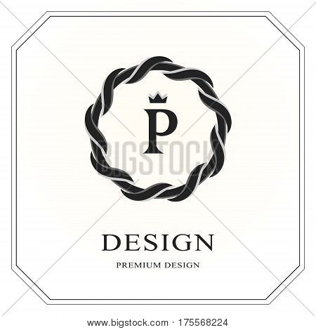 Abstract Monogram round template. Modern elegant luxury logo design. Letter emblem P crown. Mark of distinction. Fashion universal label for Royalty company business card badge. Vector illustration