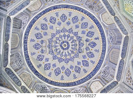 Ceiling ornament of Shirin-Bika mausoleum in Shah-i-Zinda ensemble, Samarkand Uzbekistan