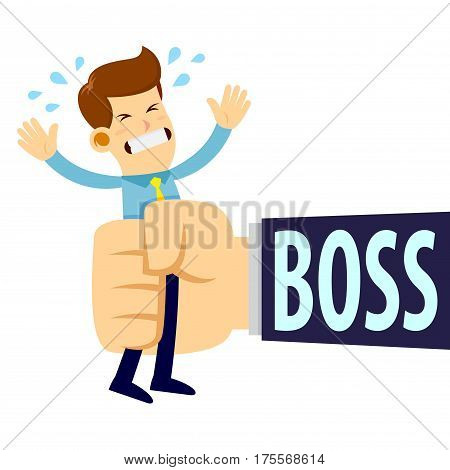 Vector stock of a businessman get squeezed by boss big hand