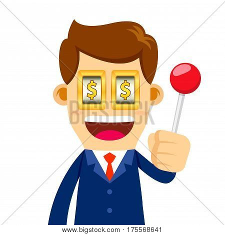 Vector stock of a businessman holding a lever with eyes like a slot machine