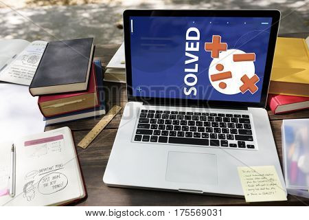 Illustration of mathematics solution lessons on laptop learning technology