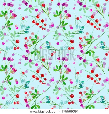 Floral seamless pattern of a berry. Cranberry, bilberry, cowberry. Watercolor hand drawn illustration.Blue background.