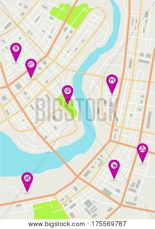 Vector flat abstract city map with pin pointers and infrastructure icons, vertical map