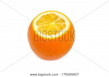 Partly incised from above orange on a light background