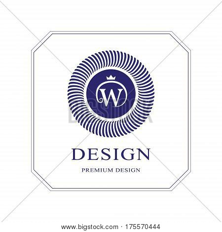 Abstract Monogram round template. Modern elegant luxury logo design. Letter emblem W crown. Mark of distinction. Fashion universal label for Royalty company business card badge. Vector illustration