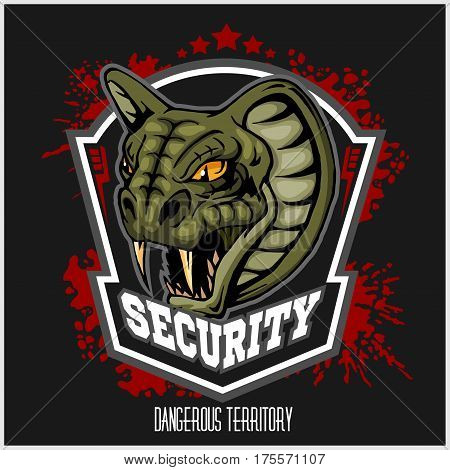 Mascot Cobra - logo for sport team. Snake mascot. Security, vector symbol on a red grunge background.