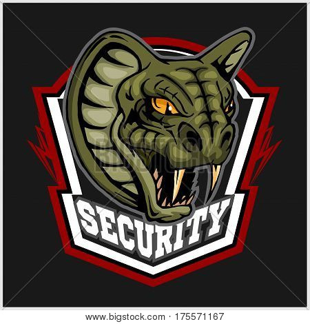 Mascot Cobra - logo for sport team. Snake mascot. Security, vector symbol on a black background.
