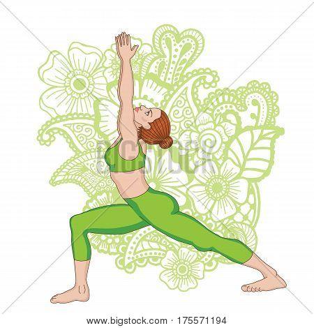 Women silhouette on paisley mehndi ormanent background. Warrior 1 yoga pose. Virabhadrasana 1 Vector illustration
