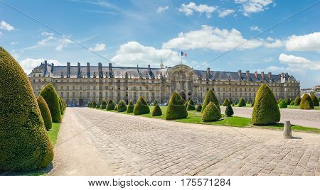 Esplanade des Invalides and northern facade of the Hotel Des Invalides with archway of a main entrance in Paris