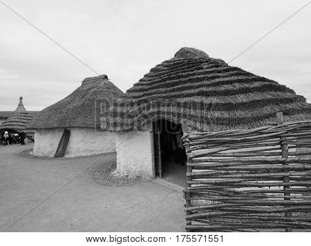 Stonehenge Neolithic Houses In Amesbury In Black And White