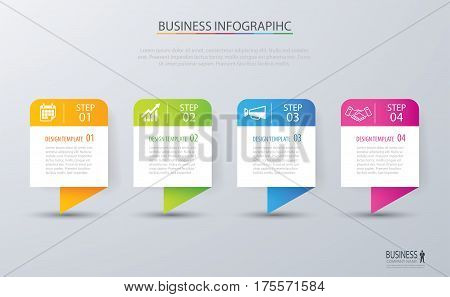Infographic tab design vector and marketing template business. Can be used for workflow layout diagram annual report web design. Business concept with 4 options steps or processes.