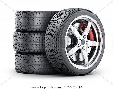 Four car wheel on a white background. 3d illustration isolated
