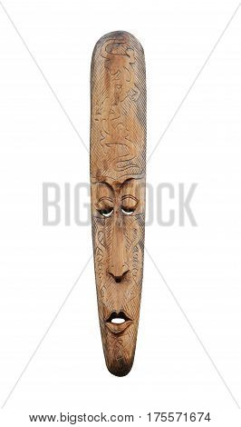 A Wooden Carved Traditional Tribal Face Mask.