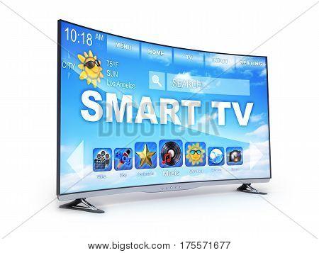 Smart TV only on white background. 3d illustration