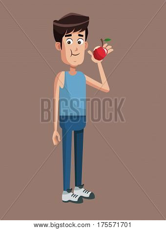 sportman with fruit apple vector illustration eps 10