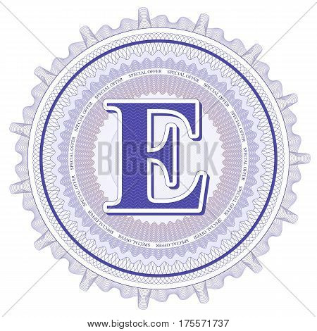 Vector Guilloche Pattern Rosette and border with letter E. Monetary banknote background print. Abstract guilloche letter design.
