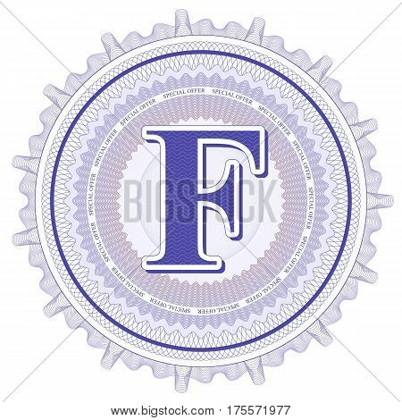 Vector Guilloche Pattern Rosette and border with letter F. Monetary banknote background print. Abstract guilloche letter design.
