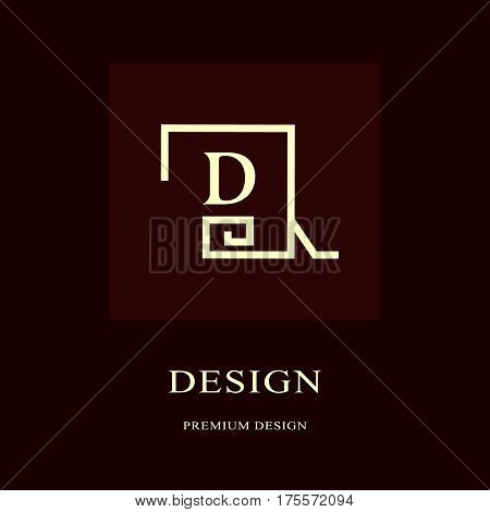 Abstract logo design. Modern luxury monogram. Minimum elements. Letter emblem D. Mark of distinction. Universal round template. Fashion label for Royalty company business card. Vector illustration