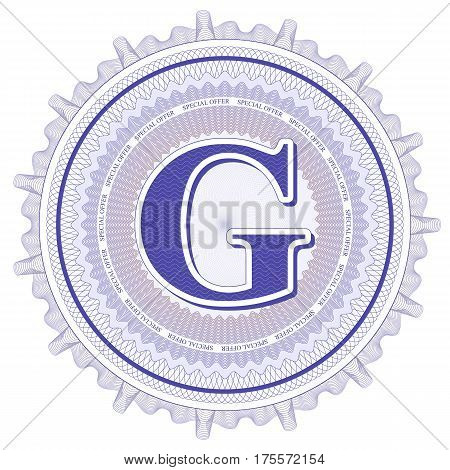 Vector Guilloche Pattern Rosette and border with letter G. Monetary banknote background print. Abstract guilloche letter design.