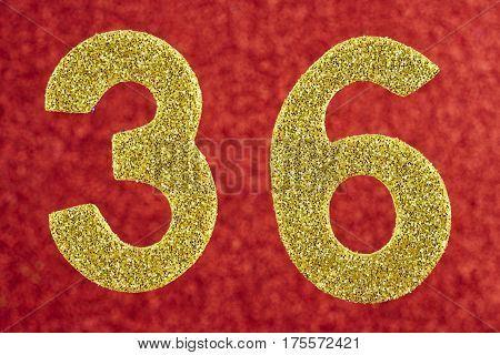 Number thirty-six yellow color over a red background. Anniversary. Horizontal poster