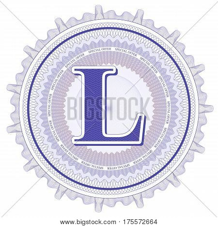 Vector Guilloche Pattern Rosette and border with letter L. Monetary banknote background print. Abstract guilloche letter design.