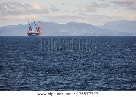Oil and gas sea platform in Norway. Energy industry. Offshore exploration