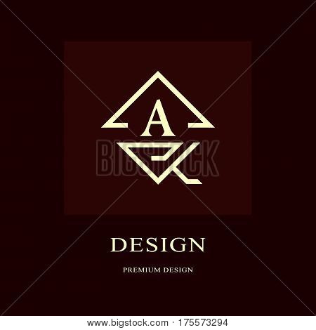 Abstract logo design. Modern luxury monogram. Minimum elements. Letter emblem A. Mark of distinction. Universal rhombus template. Fashion label for Royalty company business card. Vector illustration