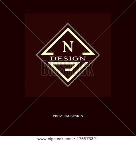 Abstract logo design. Modern luxury monogram. Minimum elements. Letter emblem N. Mark of distinction. Universal rhombus template. Fashion label for Royalty company business card. Vector illustration