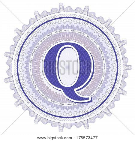 Vector Guilloche Pattern Rosette and border with letter Q. Monetary banknote background print. Abstract guilloche letter design.