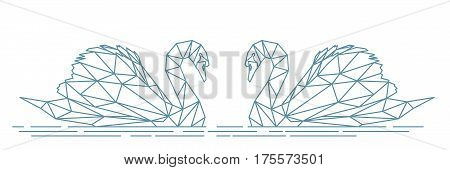 Polygonal swan, abstract illustration of two birds - swans