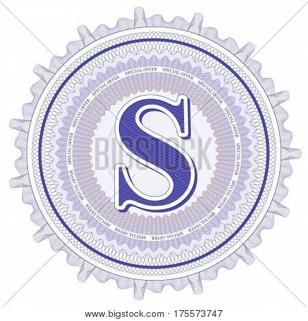 Vector Guilloche Pattern Rosette and border with letter S. Monetary banknote background print. Abstract guilloche letter design.