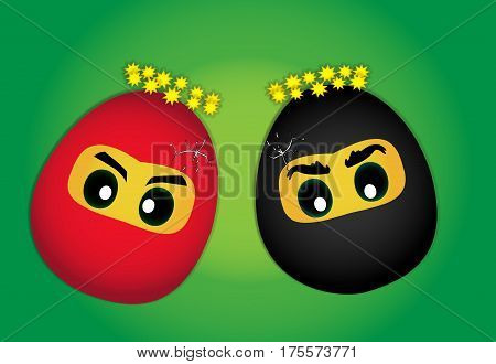 Drawn illustration of two egg as a ninja which were hit and were cracked
