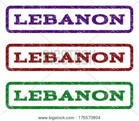 Lebanon watermark stamp. Text caption inside rounded rectangle with grunge design style. Vector variants are indigo blue, red, green ink colors. Rubber seal stamp with dust texture.