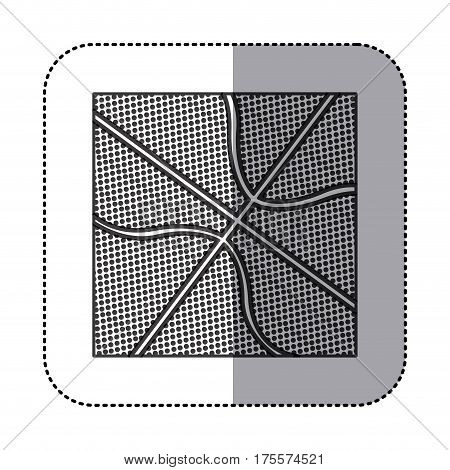 square sticker in grayscale background with basketball ball texture vector illustration