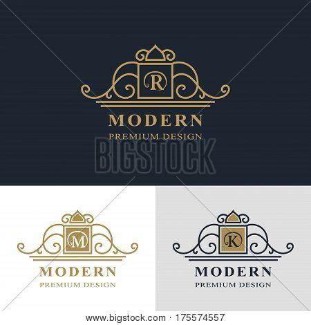 Monogram design elements graceful template. Calligraphic elegant line art logo design. Letter emblem sign R M K for Royalty business card Boutique Hotel Heraldic Jewelry. Vector illustration
