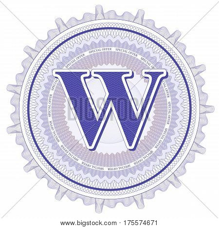 Vector Guilloche Pattern Rosette and border with letter W. Monetary banknote background print. Abstract guilloche letter design.