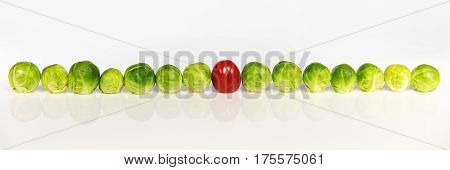 panorama of brussel sprouts and tomato in front of white concept misfit or maverick