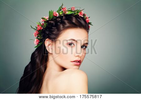 Nice Woman with Nude Make up Fresh Skin and Perfect Hairstyle on Blue Banner Background with Copy space poster