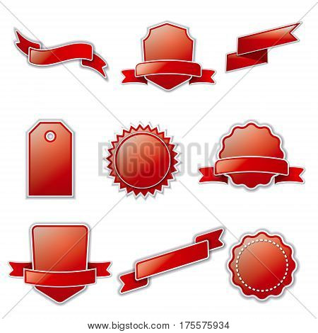 illustration of set various empty advertising banners and tags