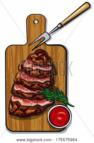 illustration of grilled sliced beef steaks on wood board with tomato sauce