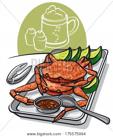 illustration of grilled cooked seafood crabs with lime and sauce