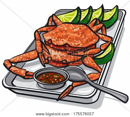 illustration of cooked seafood crabs with lime and sauce