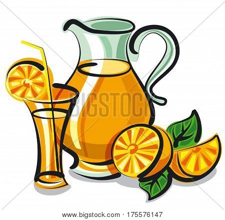 illustration of fresh orange juice in glass and sliced oranges